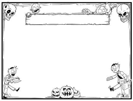 Illustration pour Hand drawing cartoon Halloween frame with cute zombie,skull and pumpkin illustrations. - image libre de droit
