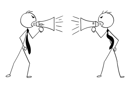 Ilustración de Cartoon stick man drawing conceptual illustration of two angry businessmen using megaphone to talk to each other. - Imagen libre de derechos