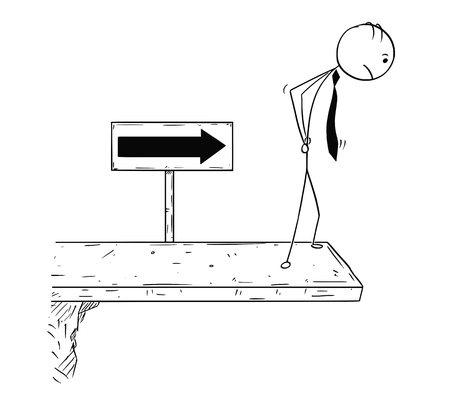 Illustration for Cartoon stick man concept drawing illustration of businessman standing on the end of the road or bridge. Concept of break of the business career. - Royalty Free Image