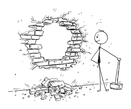Illustration for Cartoon stick man drawing conceptual illustration of businessman using hammer to break hole in the wall. Business concept of removing obstacles and looking for opportunities. - Royalty Free Image