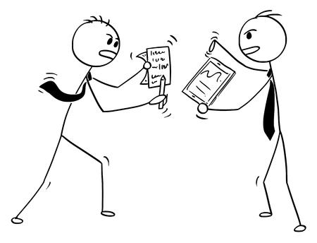 Illustration pour Cartoon stick man drawing conceptual illustration of two businessmen fighting or arguing. - image libre de droit