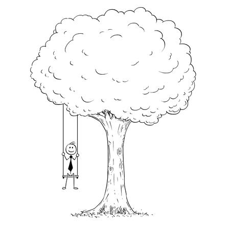 Cartoon stick man drawing conceptual illustration of happy businessman sitting on the tree swing hanging on the branch. Business concept of success.