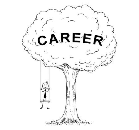 Cartoon stick man drawing conceptual illustration of happy businessman sitting on the tree swing hanging on the branch. Business concept of career success.