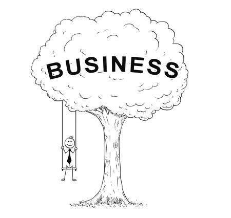 Cartoon stick man drawing conceptual illustration of happy businessman sitting on the tree swing hanging on the branch. Concept of business success.