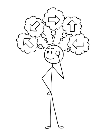 Illustration for Cartoon stick man drawing conceptual illustration of businessman thinking about what direction to choose. Business concept of decision. - Royalty Free Image