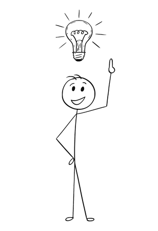 Illustration pour Cartoon stick man drawing conceptual illustration of businessman with light bulb above head. Business concept of idea, solution and imagination. - image libre de droit