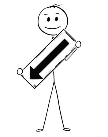 Cartoon stick man drawing conceptual illustration of businessman holding arrow sign pointing left and down.