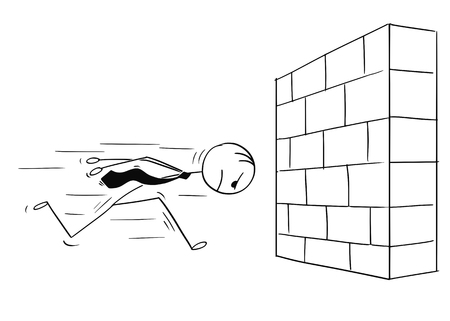 Illustration pour Cartoon stick man drawing conceptual illustration of headstrong businessman running against brick wall head first. Business concept of confidence and motivation. - image libre de droit