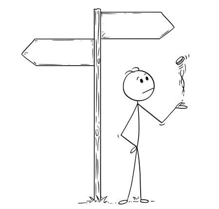 Illustration for Cartoon stick man drawing conceptual illustration of businessman making decision by tossing, flipping or spinning a coin, standing on the crossroad with two empty arrow signs. Business concept of luck, coincidence and chance. - Royalty Free Image