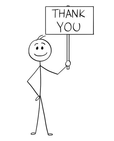 Ilustración de Cartoon stick man drawing conceptual illustration of happy smiling businessman holding sign with thank you text. - Imagen libre de derechos