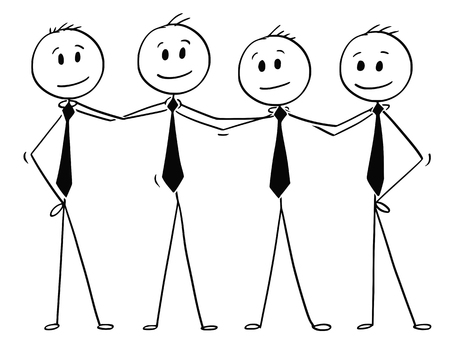 Illustration for Cartoon stick men drawing conceptual illustration of team of business people standing and holding each other shoulders. Business concept of teamwork, success and cooperation. - Royalty Free Image