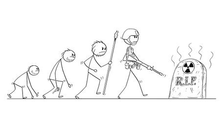 Illustration pour Cartoon stick man drawing conceptual illustration of human evolution process progress. Modern human with no successor because of nuclear war. - image libre de droit