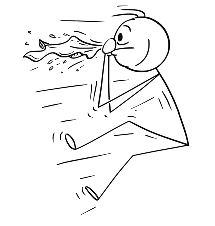 Cartoon stick man drawing conceptual illustration of man blown by sneeze or nose blow. Concept of allergy, cold and health.