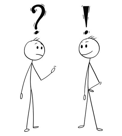 Illustration pour Cartoon stick man drawing conceptual illustration of two men or businessmen talking. One with question mark above head and second with exclamation symbol. - image libre de droit