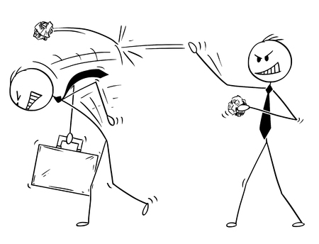 Illustration pour Cartoon stick drawing conceptual illustration of businessman throwing paper balls on another man. Business concept of competition. - image libre de droit
