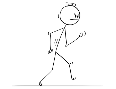Illustration for Cartoon stick drawing conceptual illustration of angry man or businessman walking. - Royalty Free Image