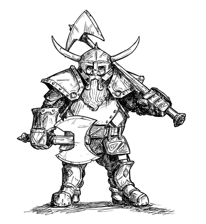 Illustration pour Vector artistic pen and ink doodle drawing illustration of fantasy dwarf warrior in horned helmet and heavy armor and holding two axes. - image libre de droit