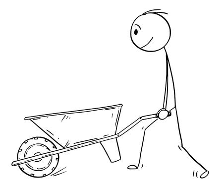 Illustration for Cartoon stick drawing conceptual illustration of man pushing empty wheelbarrow. - Royalty Free Image