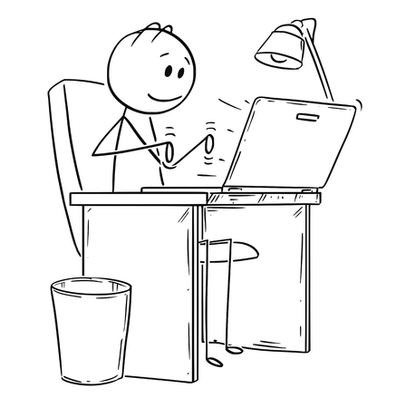 Illustration pour Cartoon stick drawing conceptual illustration of smiling man or businessman working or typing in office on laptop or notebook computer. - image libre de droit