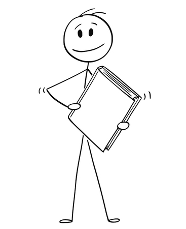 Illustration for Cartoon stick drawing conceptual illustration of smiling man or businessman holding big book with blank cover. - Royalty Free Image