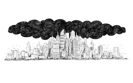 Ilustración de Vector artistic pen and ink drawing illustration of high rise building and dark smoke cloud covering the city by air pollution. - Imagen libre de derechos