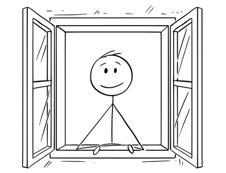 Cartoon stick drawing conceptual illustration of man looking through open window.