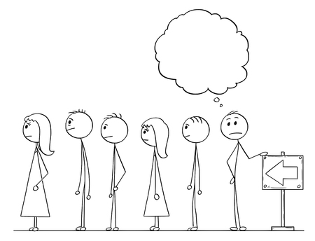 Illustration pour Cartoon stick figure drawing conceptual illustration of man waiting in line or queue with empty or blank speech bubble or text ballon above. - image libre de droit