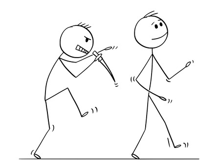 Illustration pour Cartoon stick figure drawing conceptual illustration of killer with knife sneaking silently behind walking man. - image libre de droit