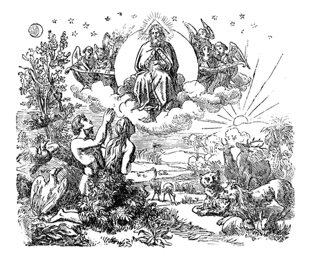 Ilustración de Vintage antique illustration and line drawing or engraving of biblical God and angels flying above the animals and Adam and Eve in Garden of Eden after the creation of the world.Genesis 1-2. - Imagen libre de derechos