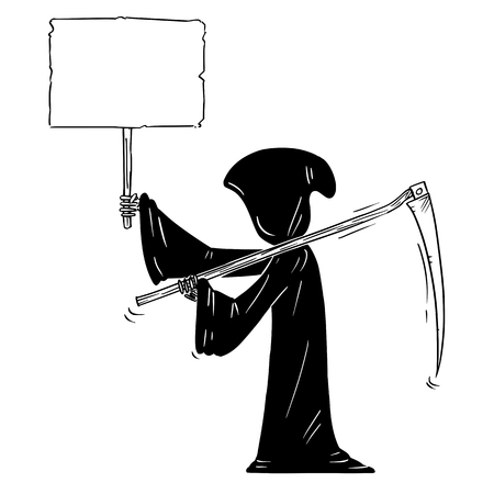 Illustration pour Cartoon stick figure drawing conceptual illustration of grim reaper with scythe and in black hood holding empty sign for your text. - image libre de droit