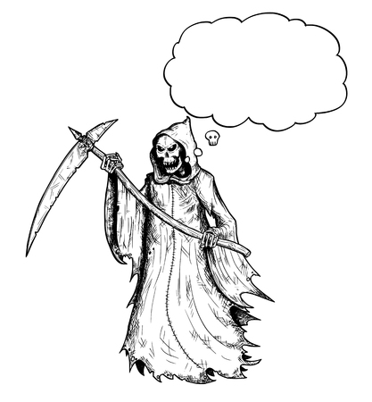 Illustration pour Cartoon stick figure drawing conceptual illustration of grim reaper with scythe and in black hood and with empty text or speech bubble or balloon. - image libre de droit