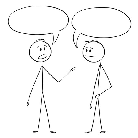 Illustration pour Cartoon stick figure drawing conceptual illustration of two men or businessmen talking with empty or blank text or speech bubbles or balloons above. - image libre de droit