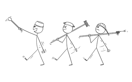 Illustration pour Vector cartoon stick figure drawing conceptual illustration of three adult men playing at soldiers and marching. Concept of war. - image libre de droit