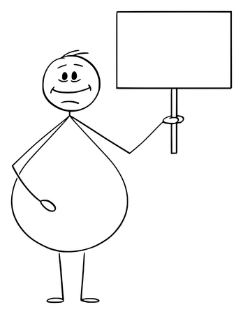 Illustration for Vector cartoon stick figure drawing conceptual illustration of smiling overweight or obese man holding empty sign ready for your text. - Royalty Free Image