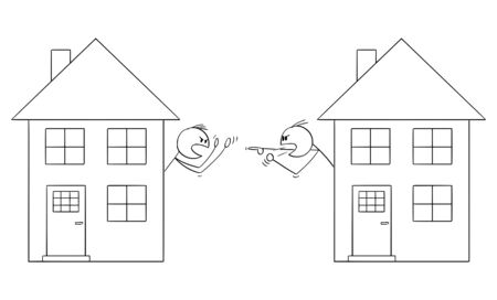Illustration for Vector cartoon stick figure drawing conceptual illustration of two men or neighbors looking from window of family houses and arguing or having fight. - Royalty Free Image