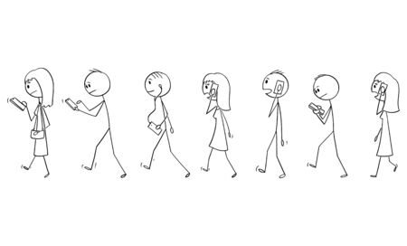 Illustration for Vector cartoon stick figure drawing conceptual illustration of set of group of people or pedestrians walking on the street and using mobile phones or cell phones. - Royalty Free Image