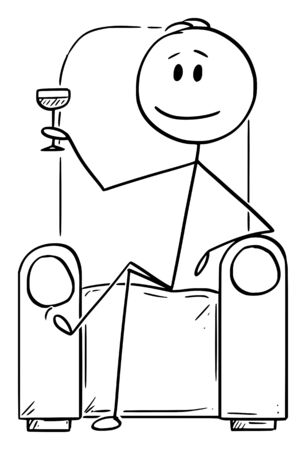 Ilustración de Vector cartoon stick figure drawing conceptual illustration of successful man or businessman or gentleman sitting in chair or armchair with drinking glass in hand. - Imagen libre de derechos