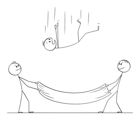 Ilustración de Vector cartoon stick figure drawing conceptual illustration of falling man or businessman and two men holding safety net to catch and save him. Concept of security or insurance. - Imagen libre de derechos