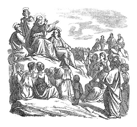 Illustration pour Vintage drawing or engraving of biblical story of Jesus teaching the crowd, sermon on the mount. Bible, New Testament,Mathew 5. Biblische Geschichte , Germany 1859. - image libre de droit