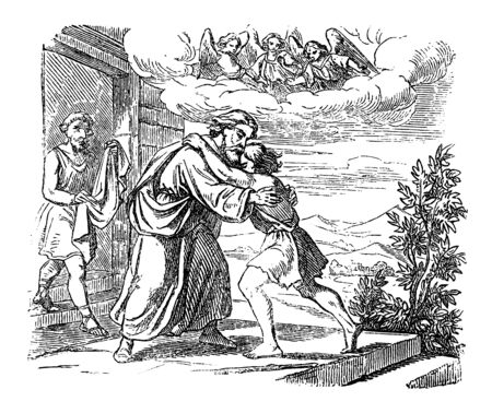 Illustration pour Vintage drawing or engraving of biblical story of Jesus and parable of lost son. Father is welcoming his lost son at home.Bible,New Testament,Luke 15. Biblische Geschichte , Germany 1859. - image libre de droit