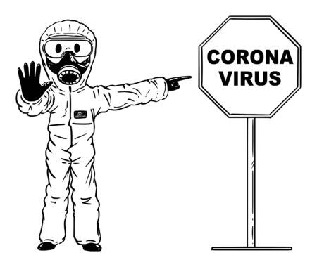 Illustration pour Vector cartoon stick figure drawing conceptual illustration of man wearing protective face mask and suit showing stop gesture and pointing at coronavirus covid-19 sign. - image libre de droit