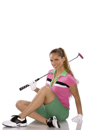 pretty golf woman posing on white isolated background