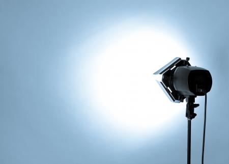 Photo pour empty studio background and flash light on light blue - image libre de droit