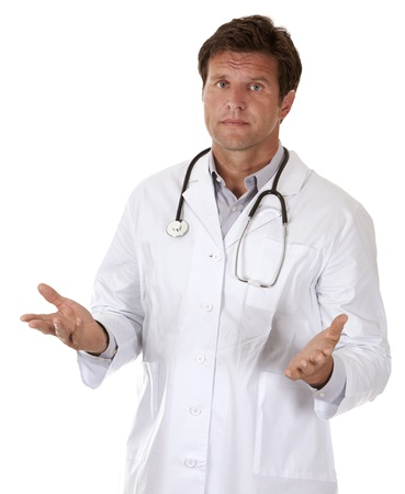 caucasian doctor is giving bad news on white background