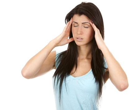 brunette having a headache on white isolated background