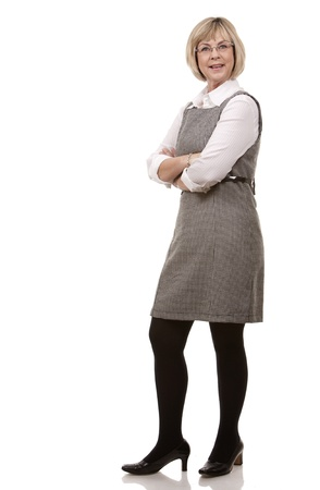 mature blonde woman in business wear on white background