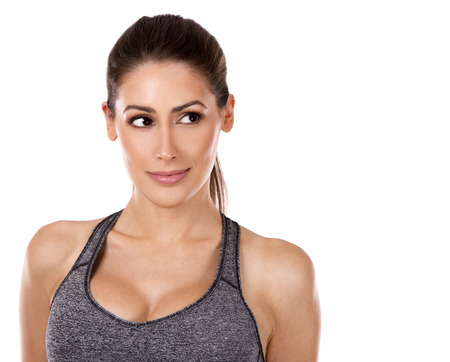 Photo for pretty caucasian fitness woman on white isolated background - Royalty Free Image