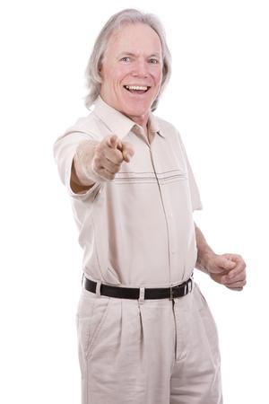 senior caucasian causual posing on white isolated background