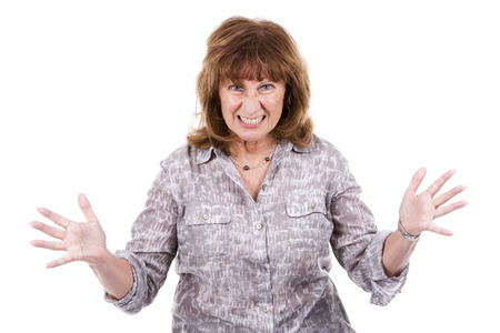 Foto für angry older caucasian woman wearing casual outfit on white isolated background - Lizenzfreies Bild