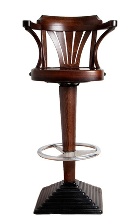 bar stool with cast-iron base and wooden seat with armrests, isolated on white background